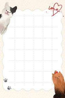 Feuille de papier avec des chiens sur fond de grille