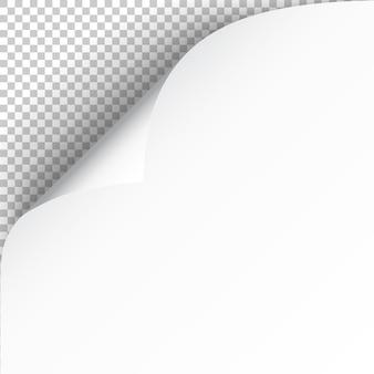 Feuille de papier avec coin recourbé et ombre douce, modèle pour votre conception.
