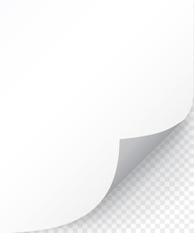 Feuille de papier avec coin recourbé et ombre douce, modèle pour votre. ensemble.