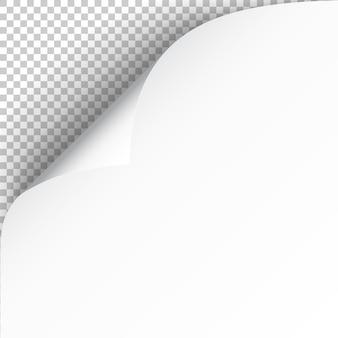 Feuille de papier avec coin recourbé et ombre douce