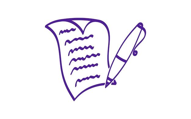 Feuille de papier écrit avec stylo icône vecteur dessiné à la main coin incurvé page contrat lettre créative
