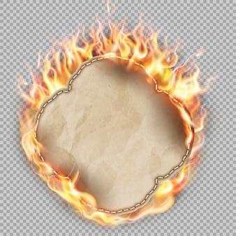Feuille de papier en flamme.