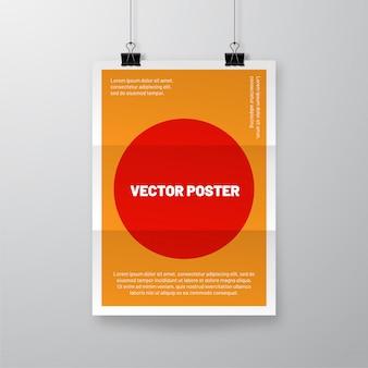 Feuille de papier froissé réaliste avec ombre. affiche ridée accrochée au modèle de clips bulldog.