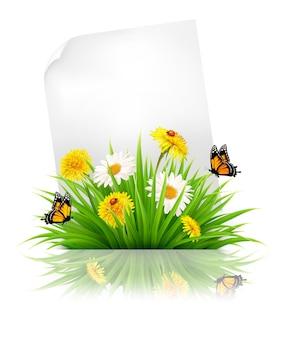 Feuille de papier avec de l'herbe et des fleurs de printemps. vecteur.
