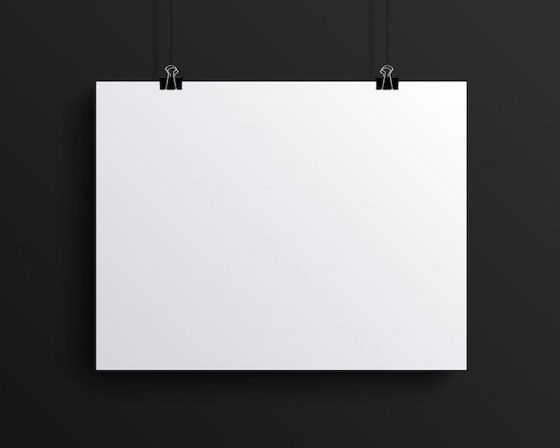 Feuille de papier horizontale vierge blanche