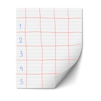 Feuille de papier avec des lignes pour le modèle de conception