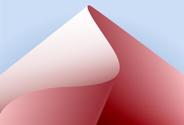 La feuille de papier vague rose vif sur une conception de vecteur de papier de feuille de papier bleu clair
