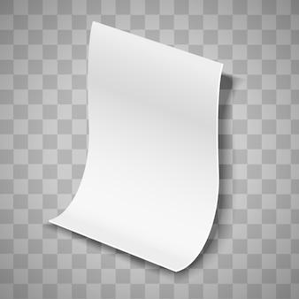 Feuille de papier de vecteur isolé sur fond transparent