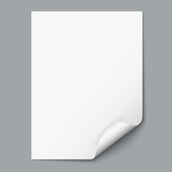 Feuille de papier vide avec coin recourbé