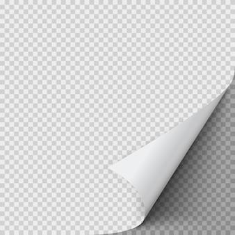Feuille de papier vide avec coin tordu