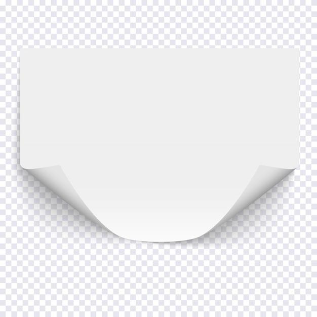 Feuille de papier vide horizontale sur fond transparent