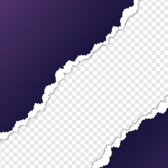 Feuille de papier violet déchiré avec fond transparent