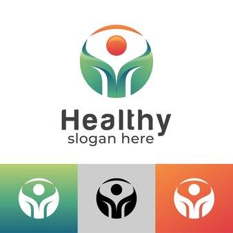 Feuille de personnes abstraites avec soleil pour une vie saine dans la nature, ferme végétale, création de logo de soins de santé