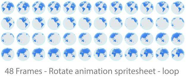 Feuille de sprite d'animation de rotation de globe