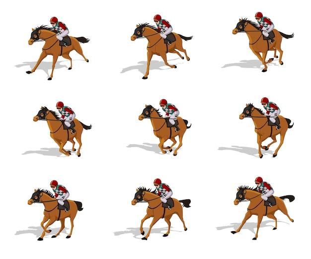 Feuille de sprite de cycle de course de cheval