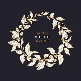 Feuille de thé en cercle. guirlande de la nature. conception d'art de luxe. symbole naturel, carte florale.