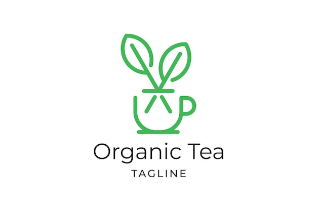 Feuille de thé avec modèle de logo minimaliste de tasse