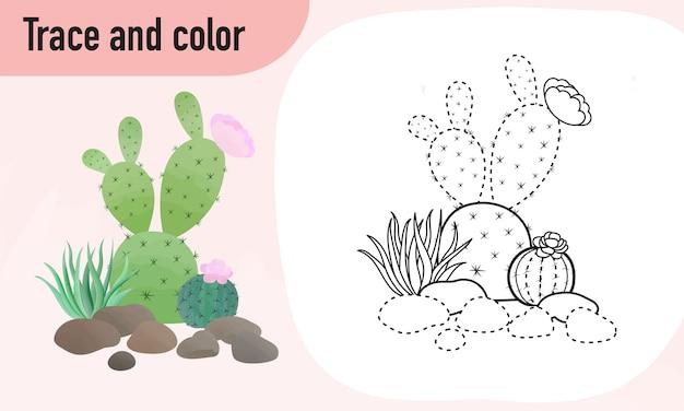 Feuille de traçage et de couleur, pratique pour les enfants d'âge préscolaire cactus