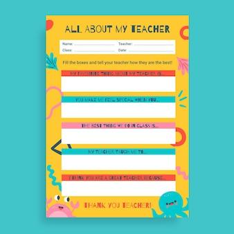 Feuille de travail sur l'activité de la journée d'appréciation de l'enseignant ressemblant à un enfant