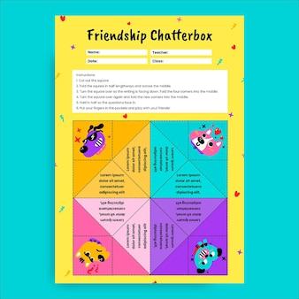 Feuille de travail de bavardage d'amitié colorée créative