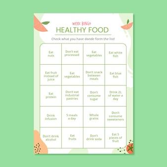 Feuille de travail de carte de bingo de repas de semaine