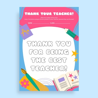 Feuille de travail colorée de remerciement de professeur