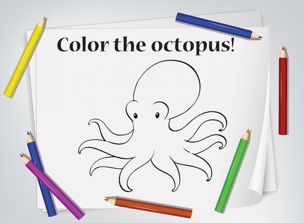 Feuille de travail de coloriage poulpe enfants