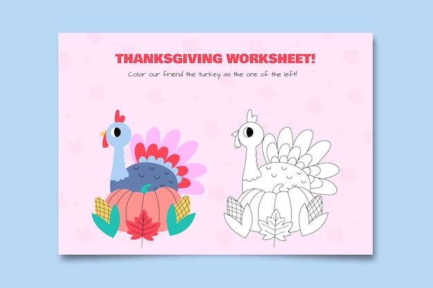 Feuille de travail de coloriage de thanksgiving dessiné à la main mignon