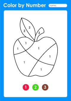 Feuille de travail couleur par numéro pour les enfants qui apprennent les nombres en coloriant les fruits et légumes pomme