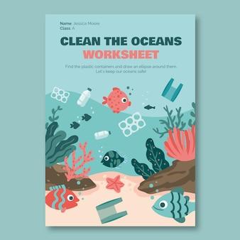 Feuille de travail créative comme un enfant sur la prise en charge de l'environnement océanique