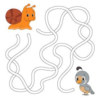 Feuille de travail drôle de labyrinthe avec des animaux
