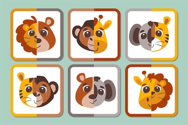 Feuille de travail du jeu de match créatif avec des animaux