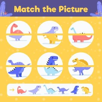 Feuille de travail du jeu de match créatif avec des dinosaures