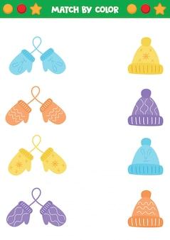 Feuille de travail éducative pour les enfants d'âge préscolaire. associez mitaines et casquettes par couleur.