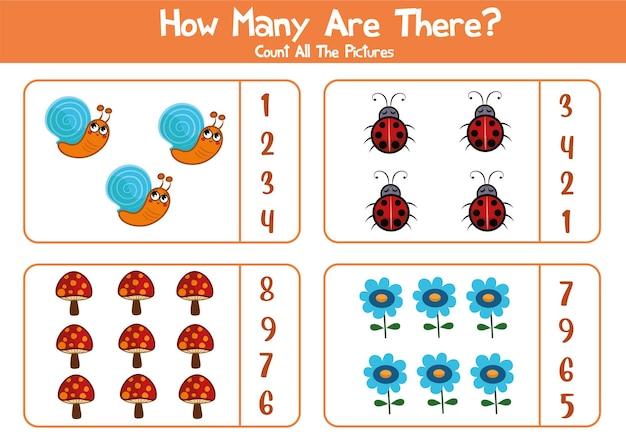 Feuille de travail éducative pour les enfants d'âge préscolaire compter les animaux et les plantes jeu de mathématiques pour les enfants