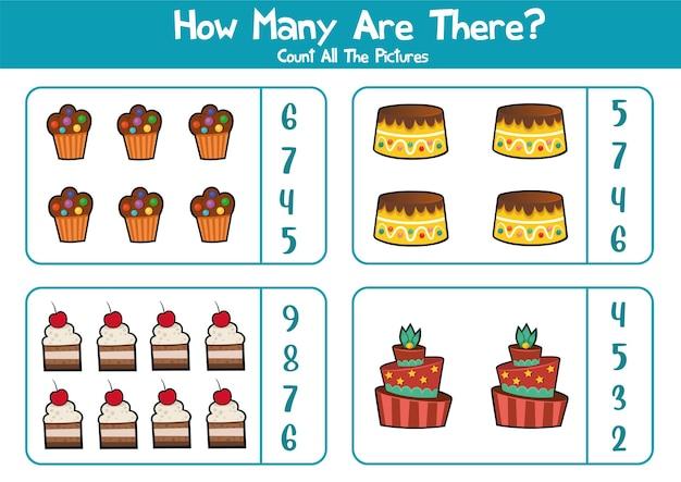 Feuille de travail éducative pour les enfants d'âge préscolaire compter les produits de boulangerie jeu de mathématiques pour les enfants