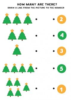 Feuille de travail éducative pour les enfants d'âge préscolaire. comptez le nombre d'arbres à fourrure.