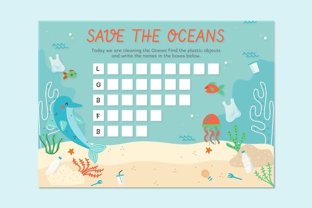 Feuille de travail sur l'environnement de soins de l'océan dessiné à la main