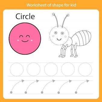 Feuille de travail de forme pour cercle enfant