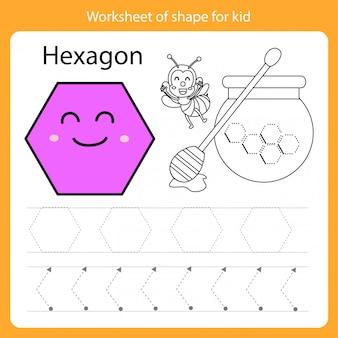 Feuille de travail de forme pour enfant hexagone