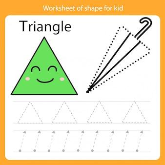 Feuille de travail de forme pour triangle enfant