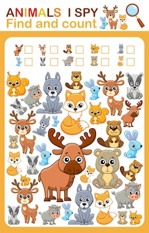 Feuille de travail imprimable pour la page de livre de la maternelle et du préscolaire, j'espionne le compte des animaux sauvages