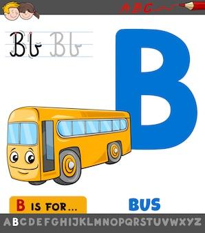 Feuille de travail lettre b avec bus de dessin animé