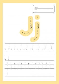 Feuille de travail de lettres de trace pour les enfants d'âge préscolaire et scolaire.