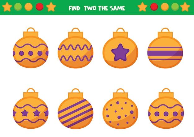 Feuille de travail de noël pour les enfants d'âge préscolaire. trouvez deux les mêmes boules de noël. jeu éducatif pour les enfants.