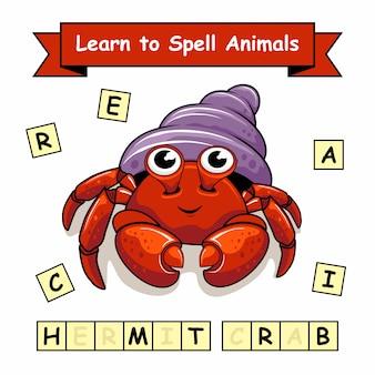 Feuille de travail sur les noms des animaux de l'ermite du crabe
