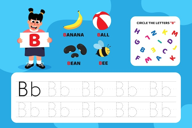 Feuille de travail pédagogique lettre b avec illustrations