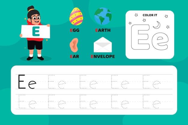 Feuille de travail pédagogique lettre e avec illustrations
