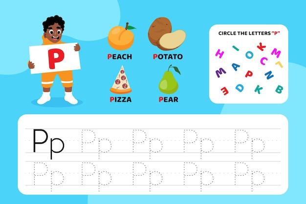 Feuille de travail pédagogique lettre p avec illustrations