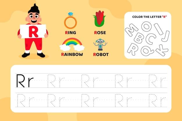 Feuille de travail pédagogique lettre r avec illustrations